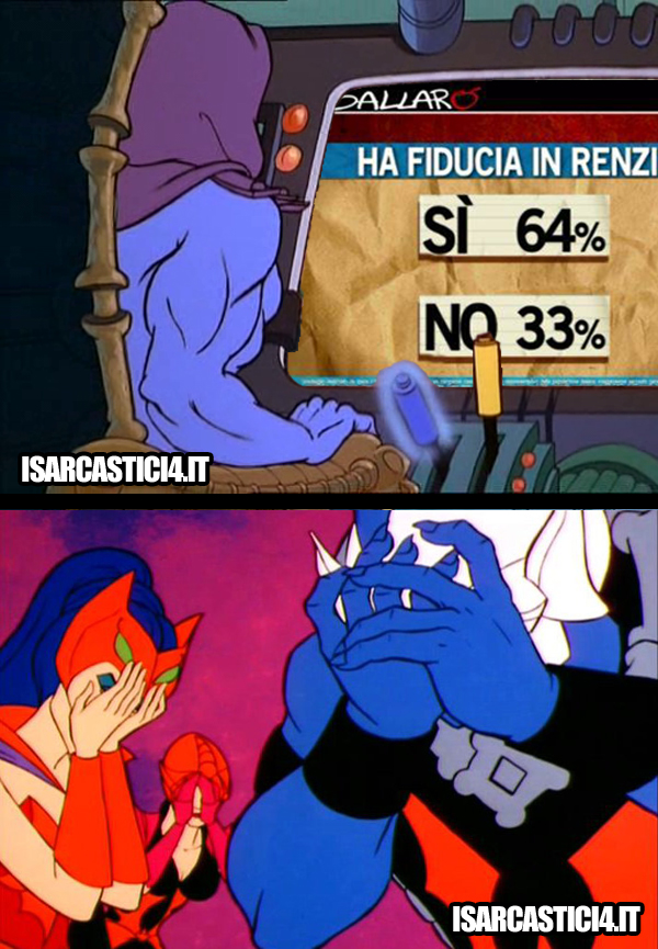 MOTU, Masters Of The Universe meme ita - Renzi e il facepalm di Skeletor